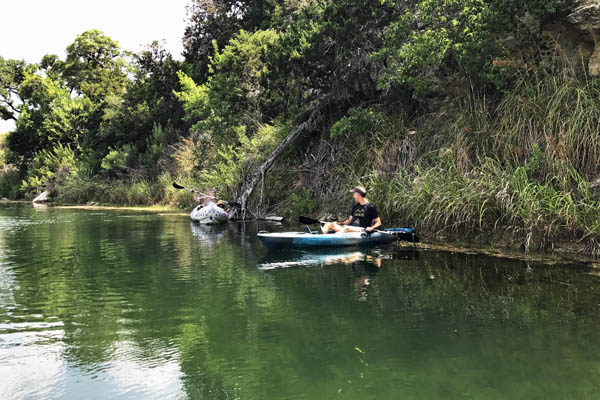 Kayaking Pipe Creek, Private River access while staying at Rancho Madrono